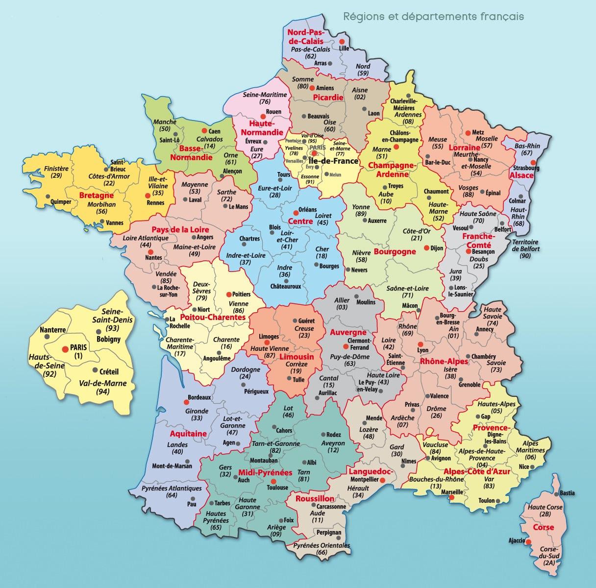 Carte De France Divisions Régions Départements Et Villes