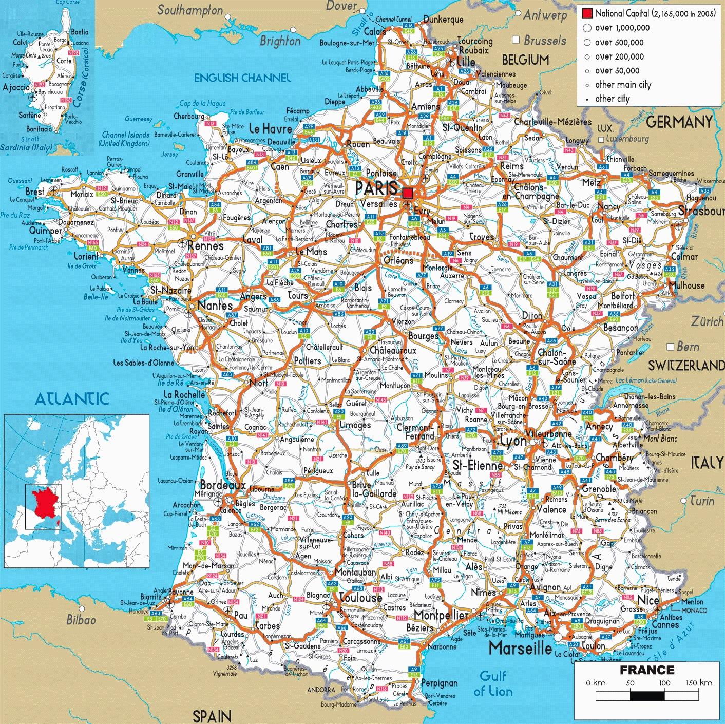 CARTE DE FRANCE : divisions régions, départements et villes